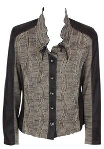 Conrad C C Ruffle Button Down Faux Leather Grey Jacket