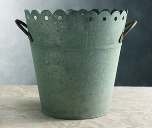 Rustic Green Patina Cute Pail/ Container