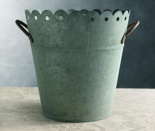 Rustic Green Patina Cute Pail/ Container Reception Decorations