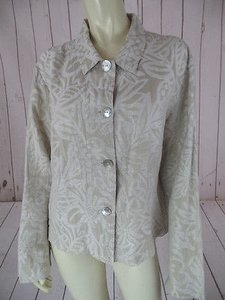 Chico's Chicos Blazer Top Silk Linen Blend Button Front Ivory Floral Leaf Print Boho