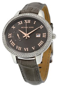 Michael Kors Silver Crystal Pave Case with Grey Dial and Grey Croc Embossed Leather Strap Ladies Watch