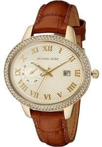 Michael Kors Gold tone Crystal Pave Case with Brown Croc Embossed Leather Strap