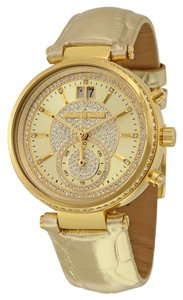 Michael Kors Crystal Pave Gold tone Dial Gld Metallic Leather Strap Luxury Designer Watch