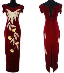 Other Vintage Evening Gown Red Velvet Sequin Gown Gold Sequin Dress