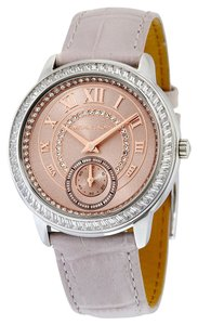 Michael Kors Silver and Rose Gold Case Crystal Accent Grey Croc Embossed Leather Strap Watch