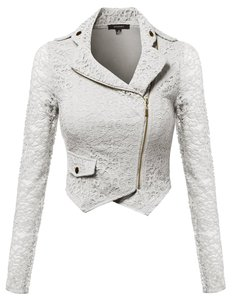Awesome21 Jacket Blazer Lace Top Black/White/Taupe