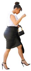 Vince Leather Pencil Lambskin Skirt Black