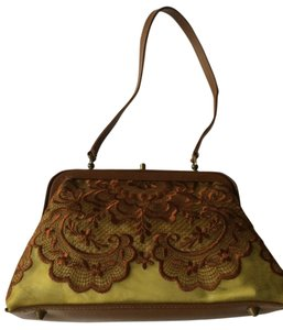 Isabella Fiore Embroidered Brown Leather Satchel in Wasabi Green and Copper