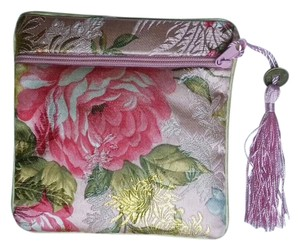 Pink & Green Floral Brocade Zippered Change Coin Purse Free Shipping