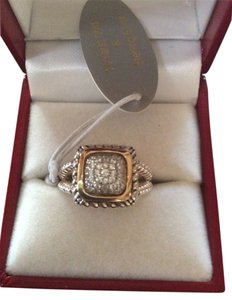 Meredith Leigh Designs Sterling Silver & 14 Karet Gold Pave Ring