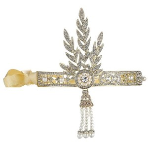 Bling Golden-tone The Great Gatsby 1920's Inspired Leaf Simulated Pearl Headband Hair Tiara