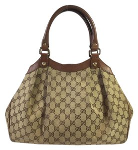 Gucci Monogram Tote in Brown/Beige