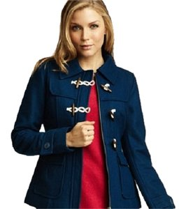 Tulle Wool Button Toggle Jacket Blue Pea Coat