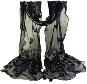 Black Peacock Chiffon Ruffled Scarf Free Shipping