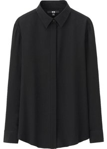 Uniqlo Silk Shirt Basic Work Top Black