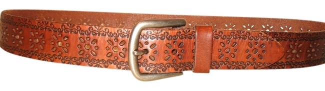 Item - Brown Flower Cut-out Leather Belt