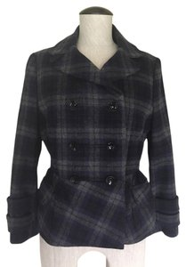 Peter Som Plaid Peplum 40s Double Breasted Navy Blazer