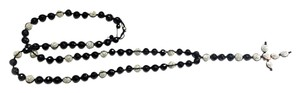 DeWitt's SHAMBALLA NECKLACE DISCO BALLS-15 MM CRYSTAL BLACK/WHITE BEADS