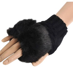 Short Black Knit Faux Fur Fingerless Gloves Free Shipping