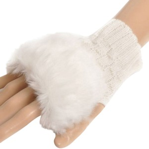 Wrist Length Faux Fur White Knit Fingerless Gloves Free Shipping