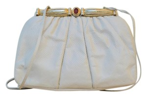Judith Leiber Cream Leather Red Gem Gold Crystal White Clutch