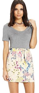 Forever 21 21 Love 21 Sash Floral Botanical Pink Neutral Mini Skirt Taupe
