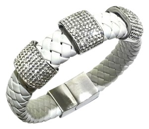 DeWitt's LADIES CRYSTAL BRACELET ON WHITE LEATHER BAND