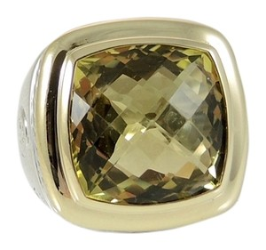 David Yurman David Yurman Sterling Silver 18K Yellow Gold 15x15mm Lemon Citrine New Albion Ring - Retail $1650