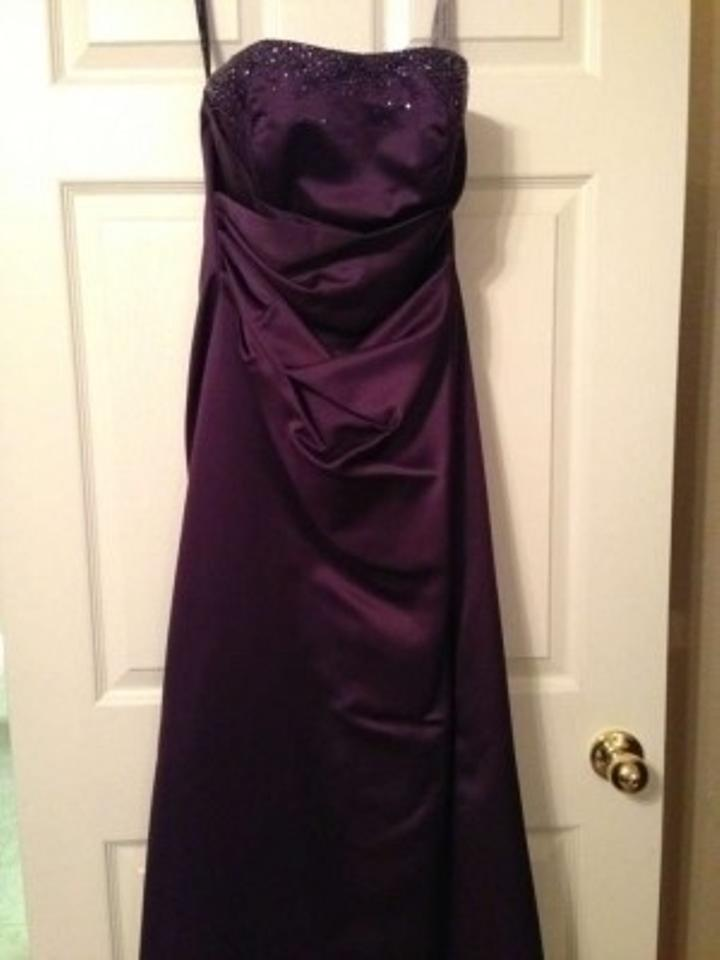 Alfred Angelo Eggplant Satin 7027 Formal Bridesmaid/Mob Dress Size 8 ...