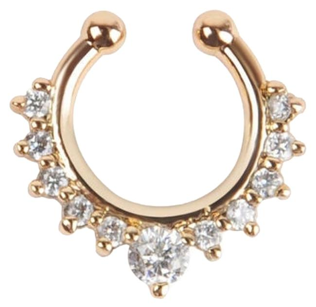 Item - Gold Crystal Stone Septum Nose Ring Non Piercing