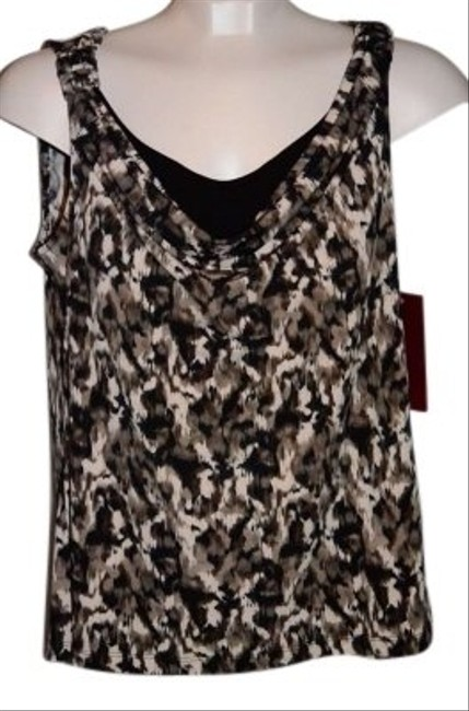 "212 Collection Sleeveless Blouse/tank Scoop Neck With Black Fabric Under Front Size M Measurements Are 19"" Underarm To Underarm (laying Top Leopard Print/Brown/White/Black"