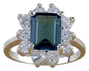 Topaz Emerald Cut stone with white sapphire ring