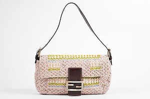 Fendi Tan Canvas Pink Pastel Bead Embellished Top Flap Baguette Shoulder Bag