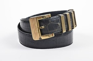 Versace Vintage Gianni Versace Black Embossed Croc Leather Belt 7530