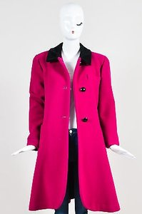 Dior Vintage Christian Magenta And Black Velvet Structured Coat