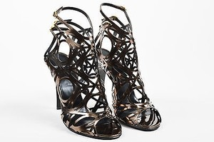 Pierre Hardy Taupe Metallic Brown Sandals