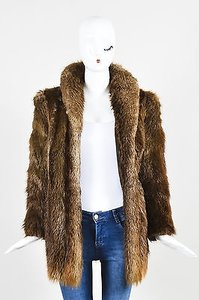 Other Vintage Fur Cropped Sleeve Chubby Coat Brown Jacket