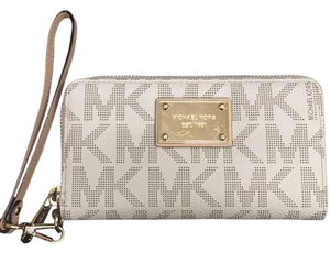 Michael Kors Wristlet in Tan With Gold Hardware