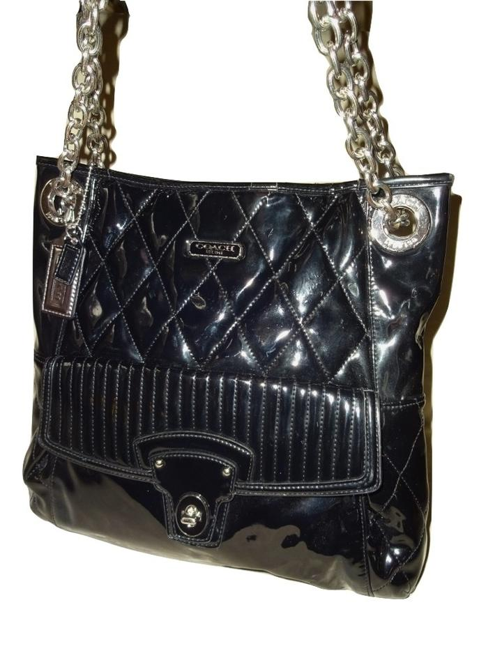 8ffcd3c004b4 Coach Poppy Liquid Gloss Slim North South 18673 Black Patent Leather Vinyl  Tote
