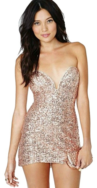 Item - Rose Gold Sequin Strapless Helix Mini Night Out Dress Size 12 (L)