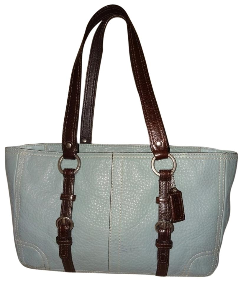 Coach Thick Pebbled Leather Durable Sky Robins Egg East West Shoulder Long Straps Slim Chelsea