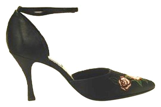 Other Black Satin Roses Rose Embroidered D'orsay Flare Heel 3.5