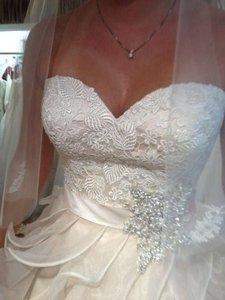 Allure Bridals Ruffle Bead 10 New Strapless Gown Wedding 8955 Swarovski Brooch Lace Sweetheart Neckline Organza Dress