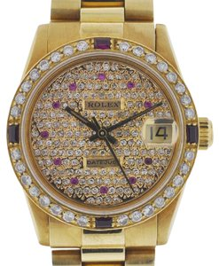 Rolex Rolex 68278 Midsize President Yellow Gold Ruby and Diamond Watch