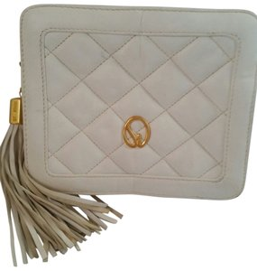 St. John Quilted Gold Hardware White Clutch