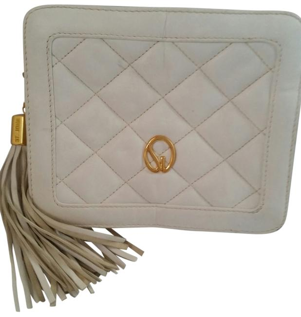 Item - Quilted White Leather Clutch
