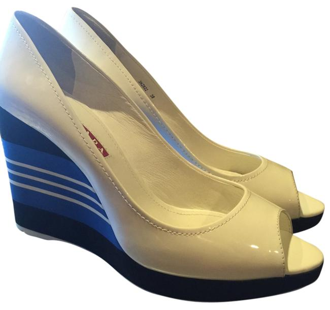 Item - White Patent Leather / Multi Blues/Black Heels Open Toes Wedges Size US 8 Regular (M, B)