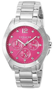Coach Coach Tristen 14502071 Silver Stainless Pink Dial Chronograph Watch