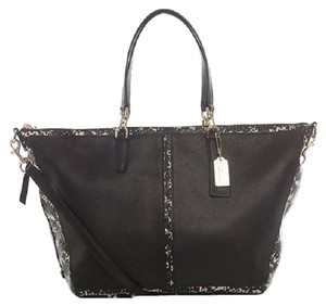 Coach Leather Python Satchel in black
