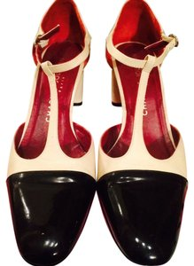 Charles Jourdan Leather Patent and Cream Pumps